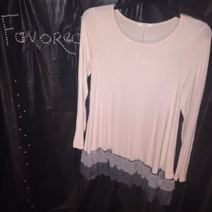 Beige blouse with gray and lace at the bottom